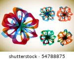 set of five abstract flowers | Shutterstock .eps vector #54788875