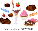 desserts and sweets set