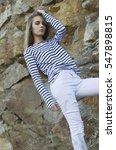 Beautiful Young Girl In Stripe...
