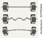 Fitness Icons  Set Of  Barbell...