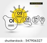 yellow linear infographic bulbs ... | Shutterstock .eps vector #547906327