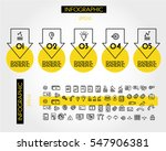 yellow linear infographic big... | Shutterstock .eps vector #547906381