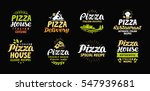 Vector Pizza Set Icons  Labels...
