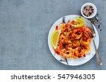 grilled tiger prawns in white...   Shutterstock . vector #547946305