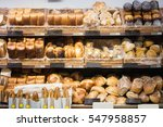 Focus On Shelves With Bread In...