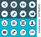 set of 16 simple social media... | Shutterstock .eps vector #547983031