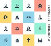 set of 16 simple religion icons.... | Shutterstock .eps vector #547983067