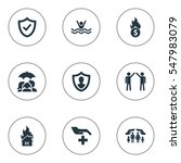 set of 9 simple insurance icons.... | Shutterstock .eps vector #547983079