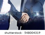 double exposure of handshake... | Shutterstock . vector #548004319