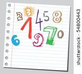 scribble numbers | Shutterstock .eps vector #54800443