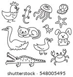 set of cartoon animal doodle | Shutterstock .eps vector #548005495