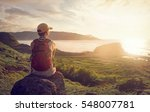 woman with backpack sitting on... | Shutterstock . vector #548007781