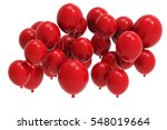 3d Balloons Bunch On White...