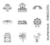 rides icons set. outline... | Shutterstock . vector #548021551