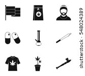 hashish icons set. simple... | Shutterstock . vector #548024389