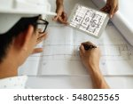 hands of engineer working on... | Shutterstock . vector #548025565