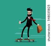 businessman riding skateboard... | Shutterstock .eps vector #548035825