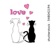 Stock photo isolated doodle couple cats with hearts and word love for valentine greeting card invitation save 548042194