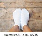 selfie feet wearing white socks ... | Shutterstock . vector #548042755