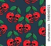 cherry skull hand drawing...   Shutterstock . vector #548048521
