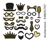 big set of black and gold... | Shutterstock .eps vector #548051707