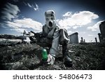 two soldiers in the gas masks...   Shutterstock . vector #54806473
