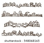 Vector doodle landscape panoramas set. Stock cartoon illustration for design.