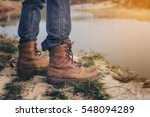 tourists hiking shoes standing... | Shutterstock . vector #548094289