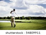 male golf player teeing off... | Shutterstock . vector #54809911