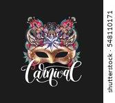 3d gold venetian carnival mask... | Shutterstock .eps vector #548110171
