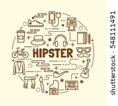 hipster minimal thin line icons ... | Shutterstock .eps vector #548111491