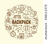 backpack minimal thin line... | Shutterstock .eps vector #548111575