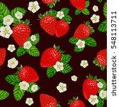 vector strawberry seamless... | Shutterstock .eps vector #548113711