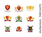 gryphon medieval logo design.... | Shutterstock .eps vector #548116291
