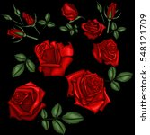 red roses embroidery | Shutterstock .eps vector #548121709