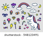 cute magic set of stickers ... | Shutterstock .eps vector #548123491