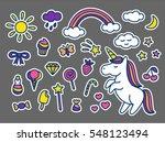 cute magic set of stickers ... | Shutterstock .eps vector #548123494