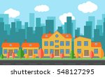 vector city with cartoon houses ...