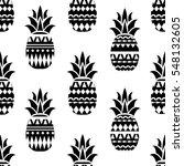 pineapple seamless pattern.... | Shutterstock .eps vector #548132605