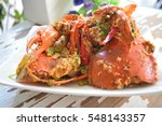 crab curry dish put on the... | Shutterstock . vector #548143357