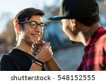 hand tight of a couple of good... | Shutterstock . vector #548152555