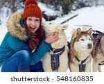 Girl With  Cute Dogs