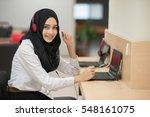 Muslim Student Girl Using...
