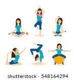 girls doing yoga and meditation ... | Shutterstock .eps vector #548164294