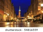 Long Street in Gdansk at night - stock photo