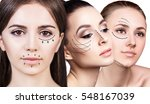 three woman's faces with... | Shutterstock . vector #548167039
