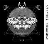 night moth. esoteric symbol ... | Shutterstock .eps vector #548176177