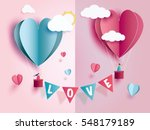 love Invitation card Valentine's day abstract background with text love and young joyful,clouds,paper cut pink heart. Vector illustration. | Shutterstock vector #548179189