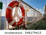 lifebuoy ring on upper deck of...   Shutterstock . vector #548179615