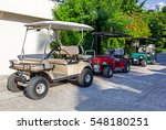 Golf Carts In A Raw Outside ...